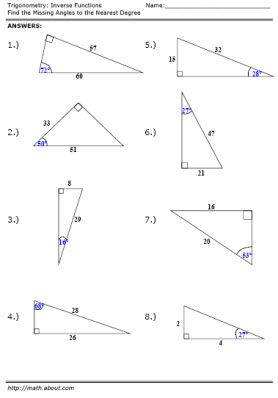 Free Trigonometry Worksheets on Inverse Functions