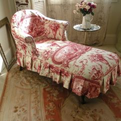 French Country Sofa Fabric Leather Traditional Vintage Chaise Lounge Slipcovered In A