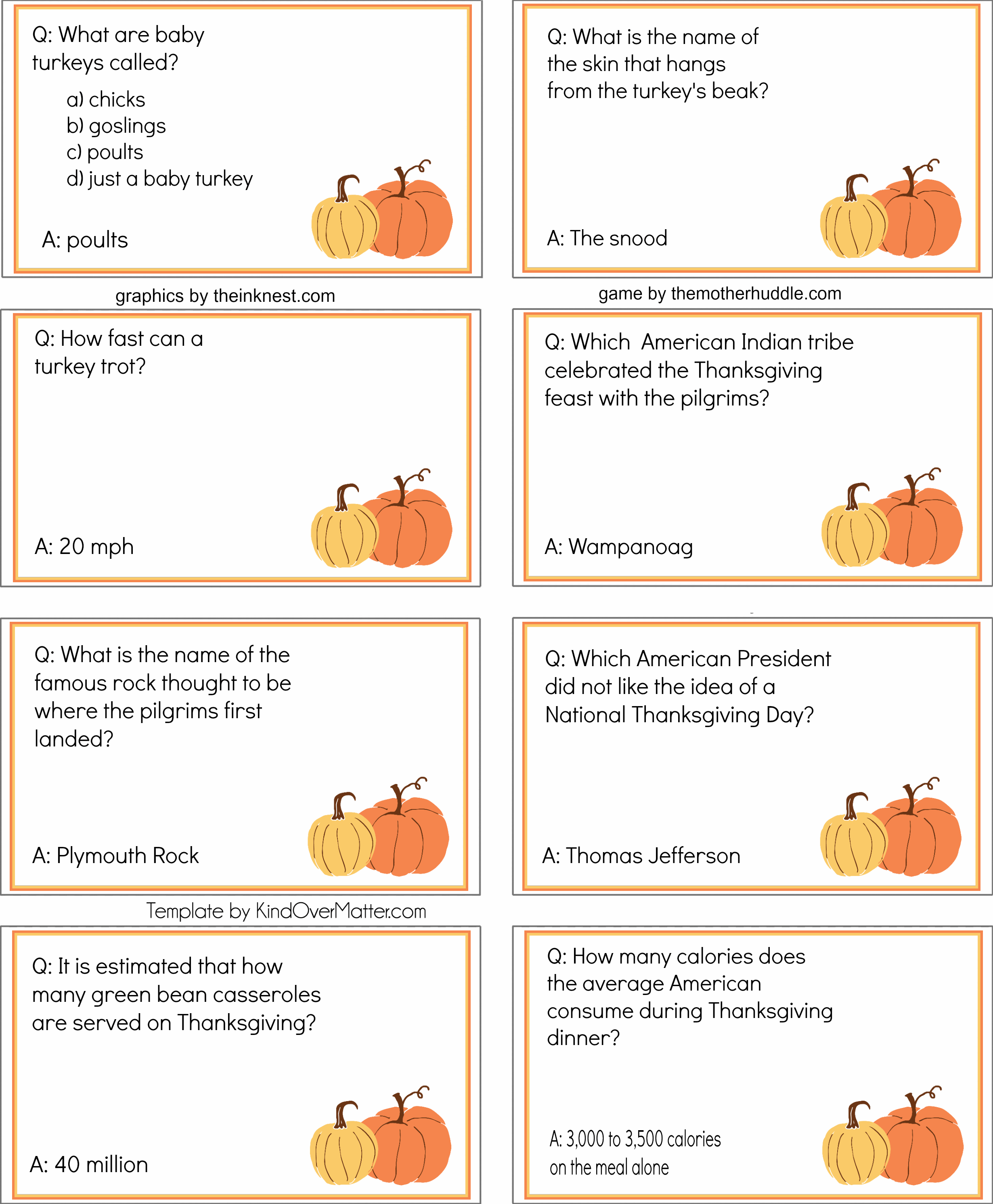 Thanksgiving Trivia Cards Pack 3 2 460 2 984 Pixels