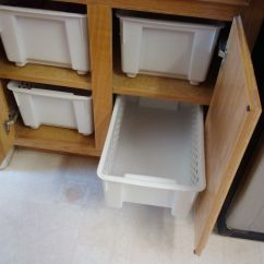Kitchen Counter Solutions Trash Can Cabinet Inexpensive Solution No More Reaching