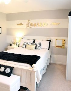 Cool teen girl   room gray striped walls black and white bedding by www also rh pinterest