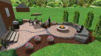 Brick paver patio and fire pit | 3D Landscape Designs ...