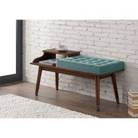 Mid-Century Style Tufted Telephone Bench Teal by I Love ...
