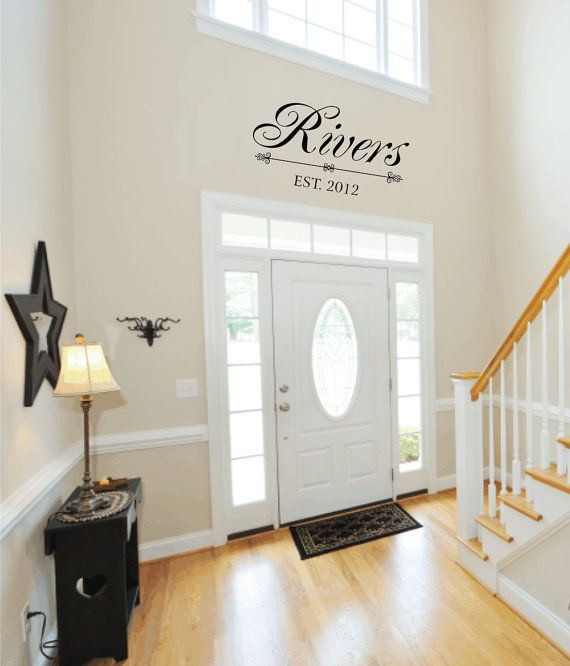Personalized family last name vinyl wall decal with date established entry way foyer living room also custom art rh pinterest