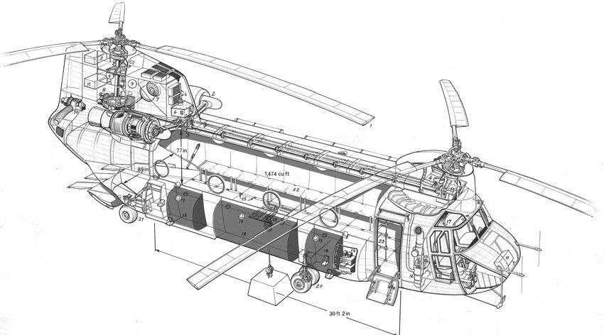cutaway boeing vertol ch 46 sea knight