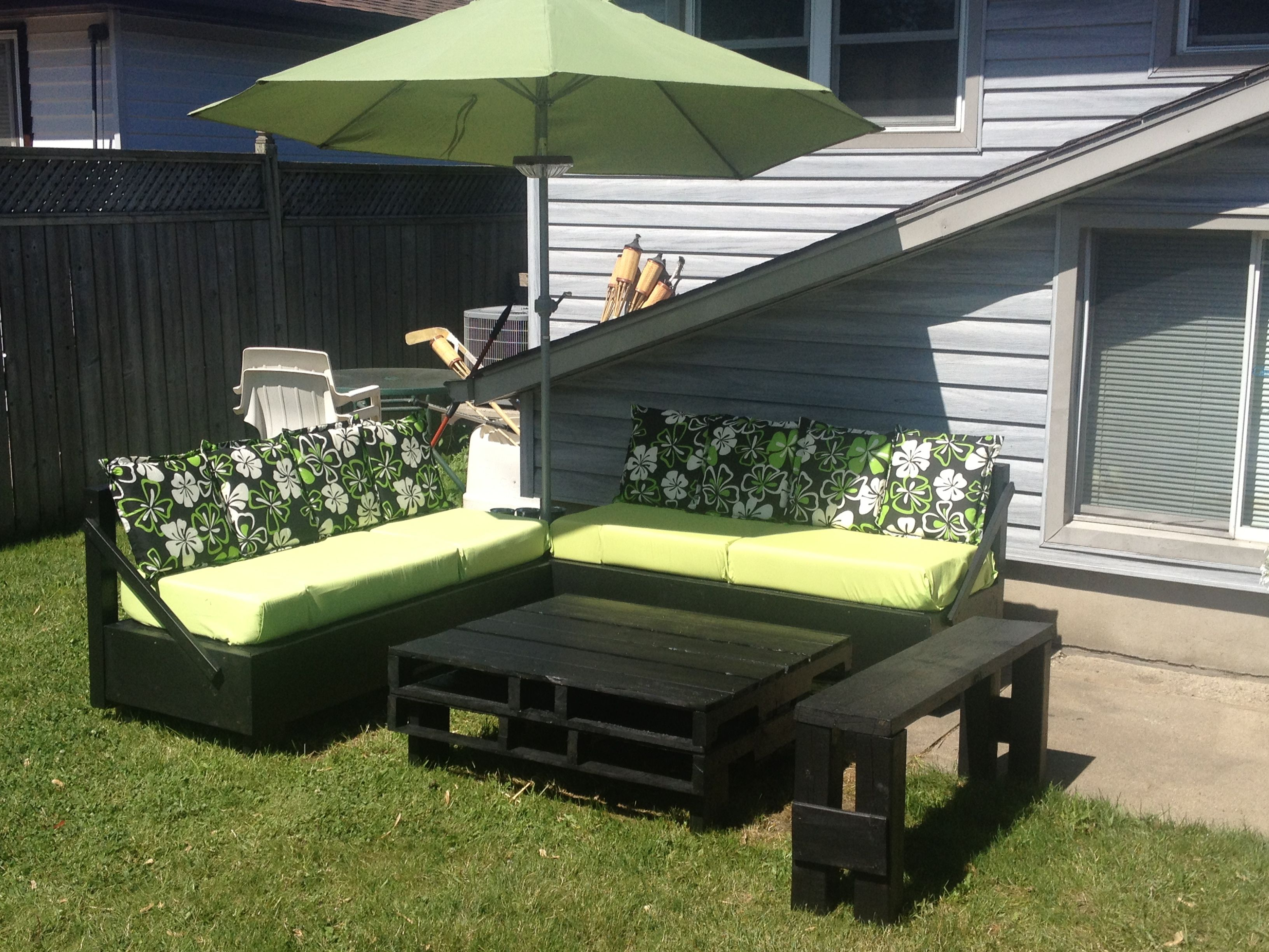 Homemade patio furniture my husband and I made A lot of