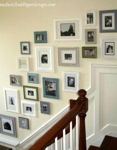 Picture frame collage wall on stairway also ideas for all my pictures the home pinterest rh