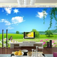Natural scenery Wallpaper Custom 3D Wall Mural Blue Sky ...