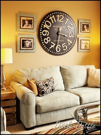 living room clocks next gray ideas pinterest love this wall clock and she has a great tutorial for the ...