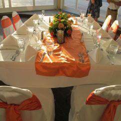 Wedding Chair Covers Sydney Plastic Adirondack Chairs Walmart Couple Wants White Floor Length Table Linens Orange