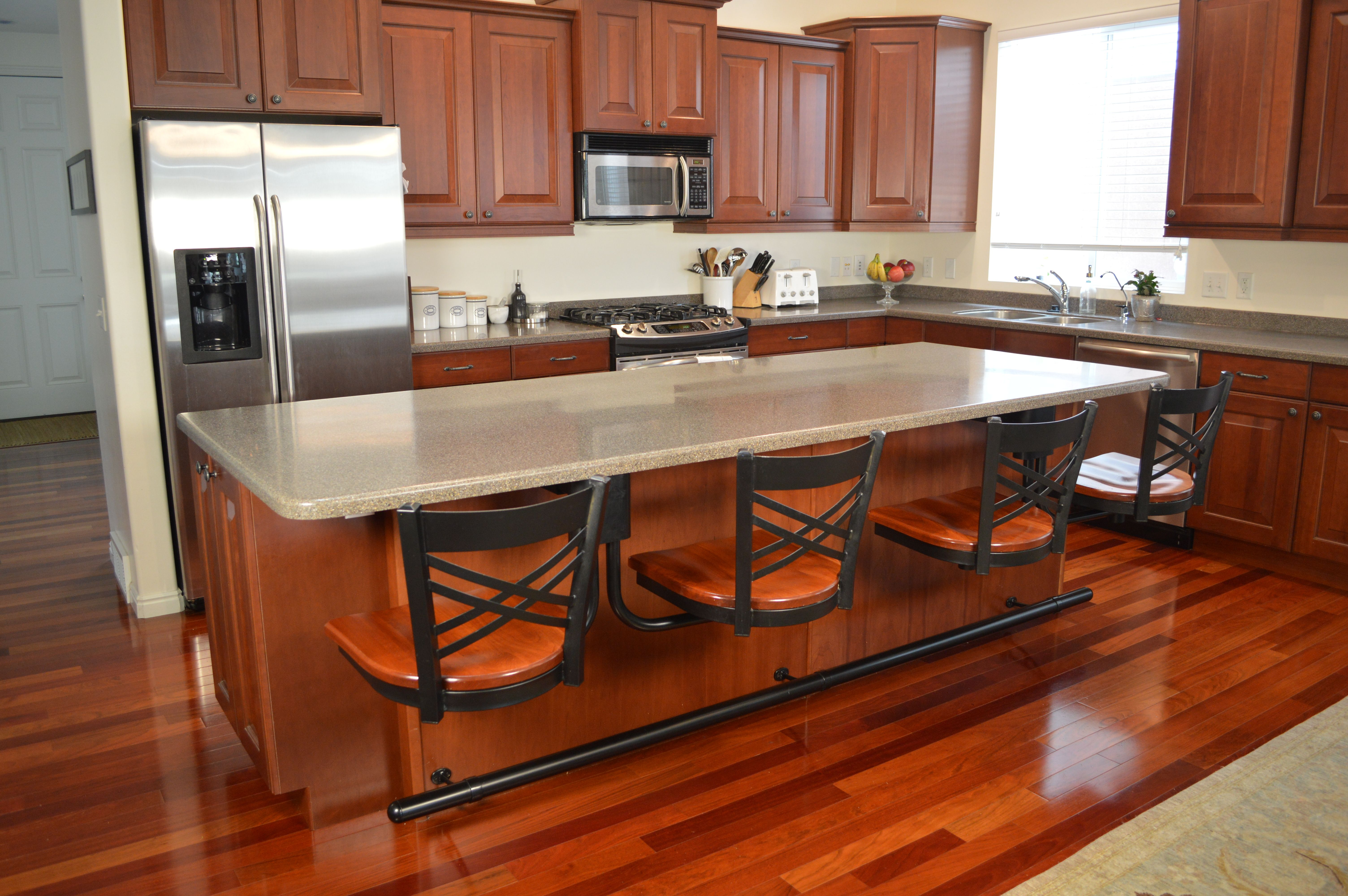 kitchen island with bar seating cabinet hutch stools chairs dining room