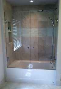 FRENCH SHOWER DOORS: Mount a swing door on each wall to ...