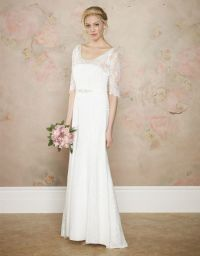 Simple Lace Sleeve Wedding Dress for Older Brides Over 40 ...
