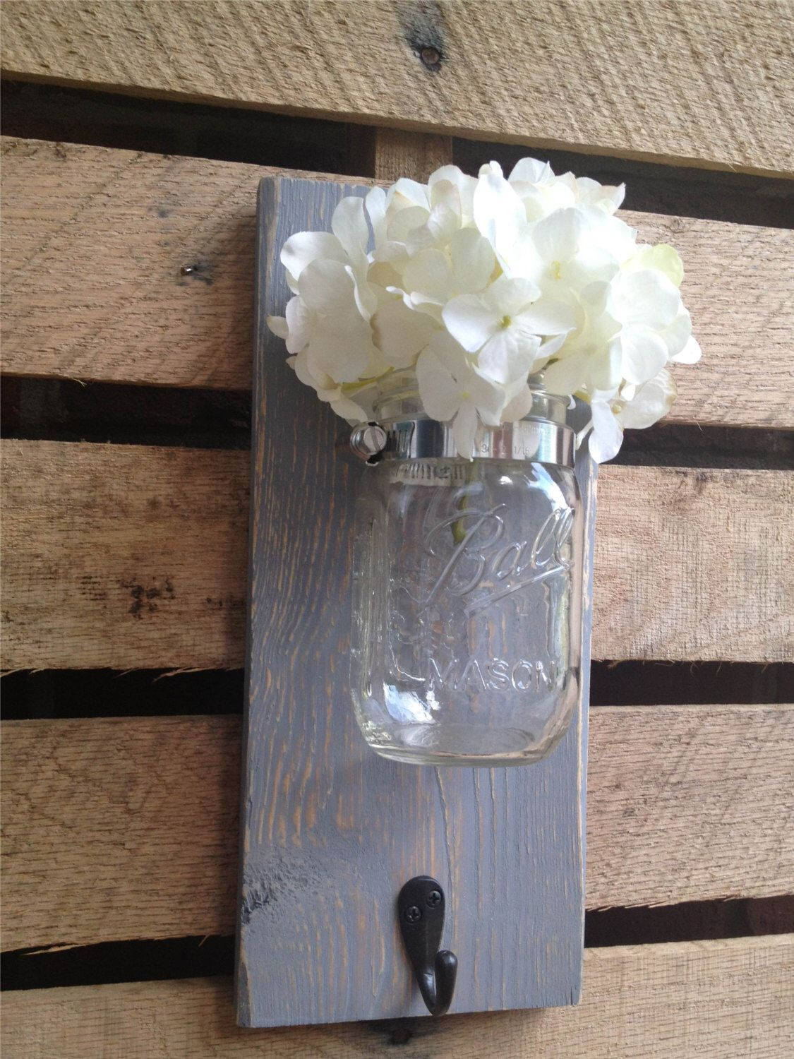 Mason jar wall decor with hookyou pick colorwall hookwall hanger also rh pinterest