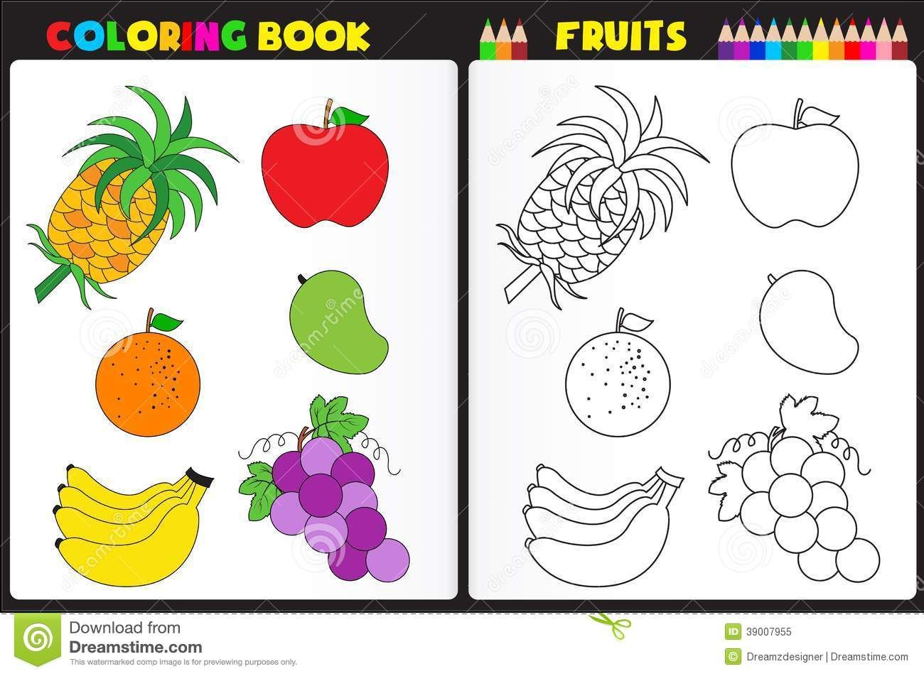 Coloring Book Page Fruits Nature Kids Colorful Sketches To
