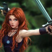 red hair digital art