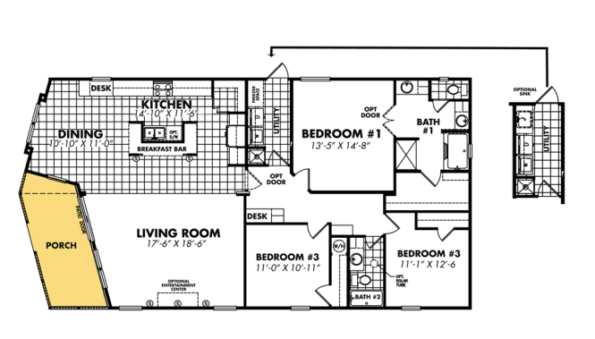 Mobile Home Blueprints 3 Bedrooms Single Wide 71 Bedroom Double Floor Plans