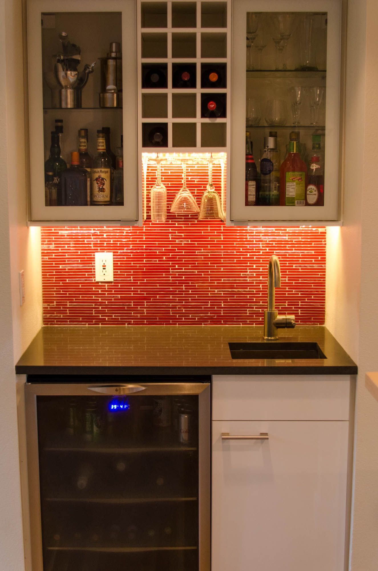 IKEA Wet Bar Cabinets with Sink in Small Kitche Red