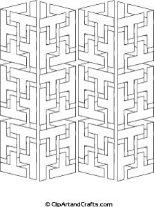 Tricky adult design to color: geometric interlocking