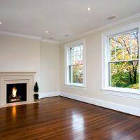 antique white walls, white ceiling and trim, medium wood ...