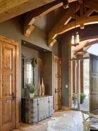 Entry foyer peaked ceiling wall color dark paint earthy ...