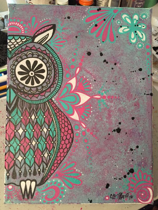 Abstract Owl Canvas Watercolor Paintmarkers Pink Teal
