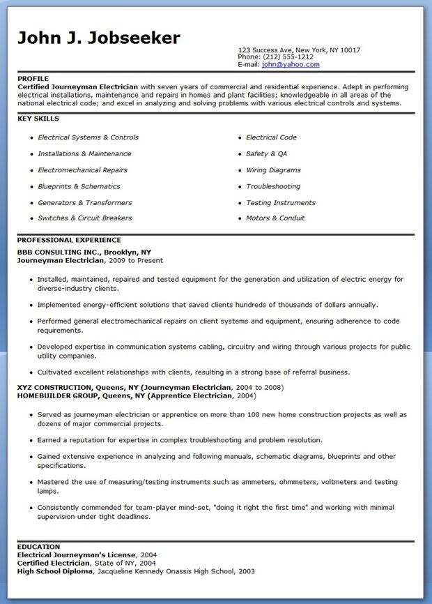 free resume templates for journeyman electrician