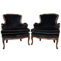 Black Bergere Chairs -French Vintage Pair of Louis XV ...