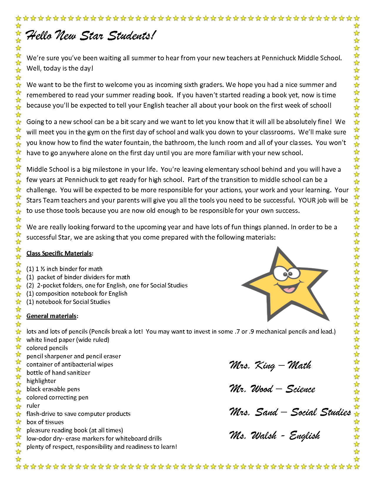Teacher Welcome Letter To Students