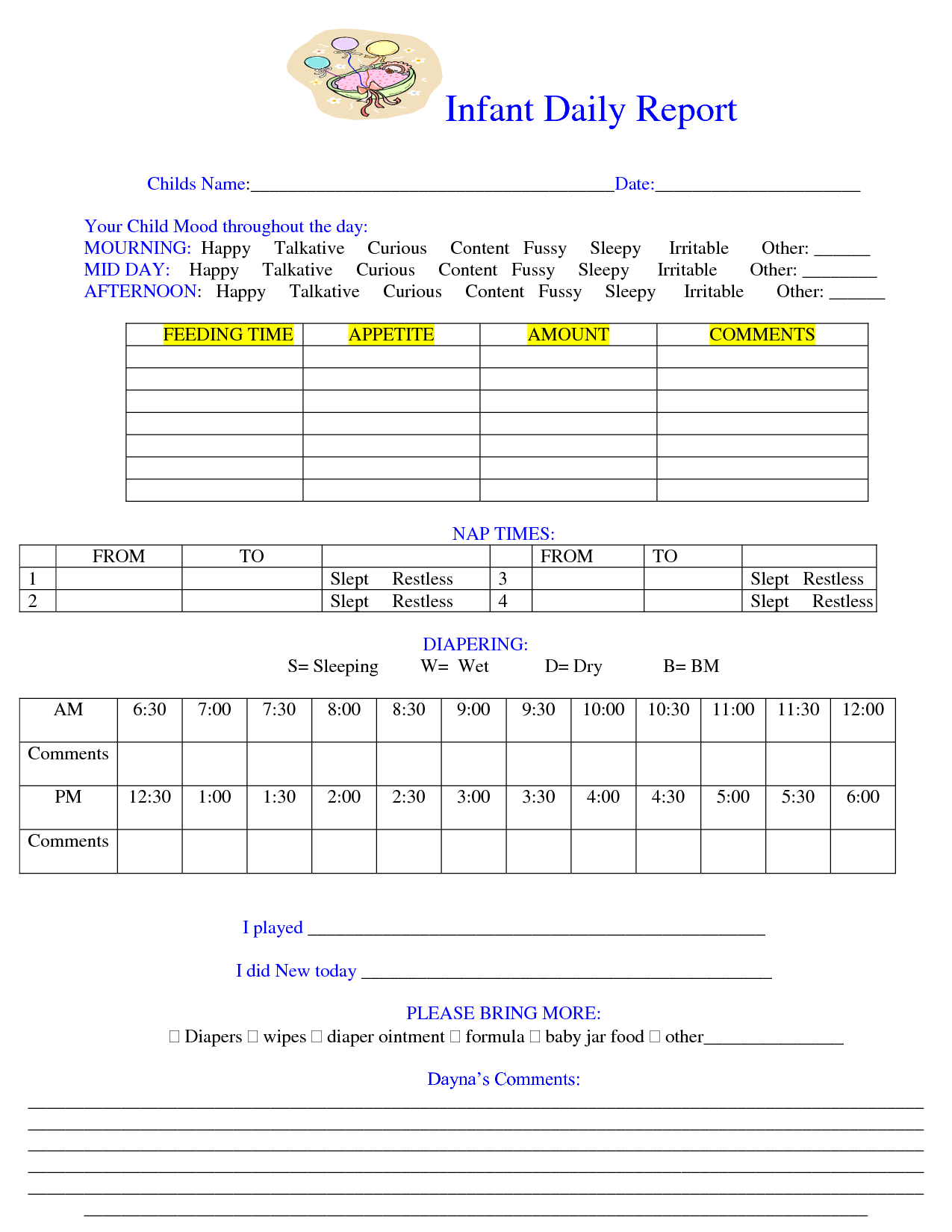 Baby Daily Sheet Infant Daily Report