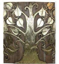 Teak wood carving gold foil painting bodhi tree wall mural