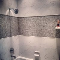 Porcelain Penny Round Mosaic Tile in the shower ...