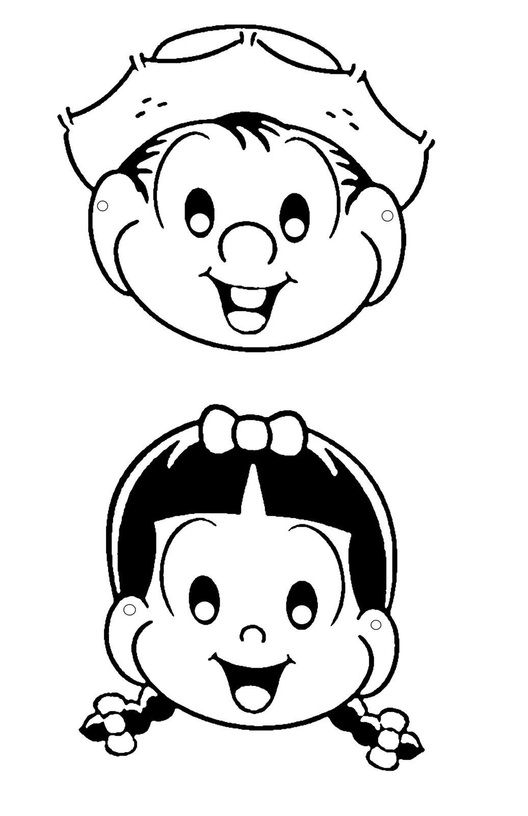 Máscaras turma da Mônica