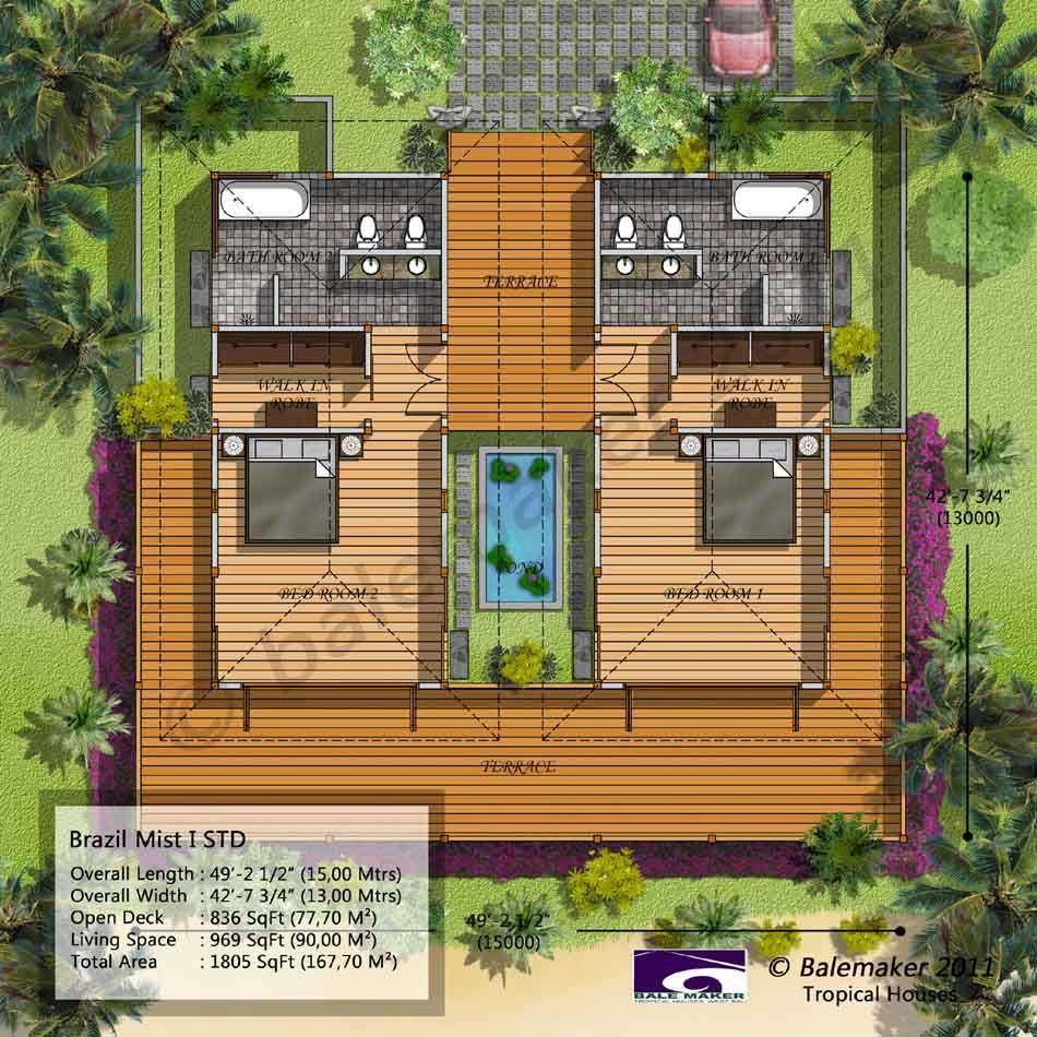 Balemaker Tropical House Floor Plans Modeling Design Bali