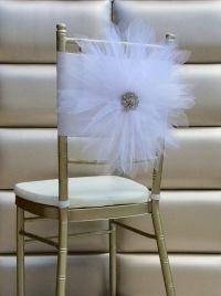 White tulle flower chair sash by FloraRosa Design ...