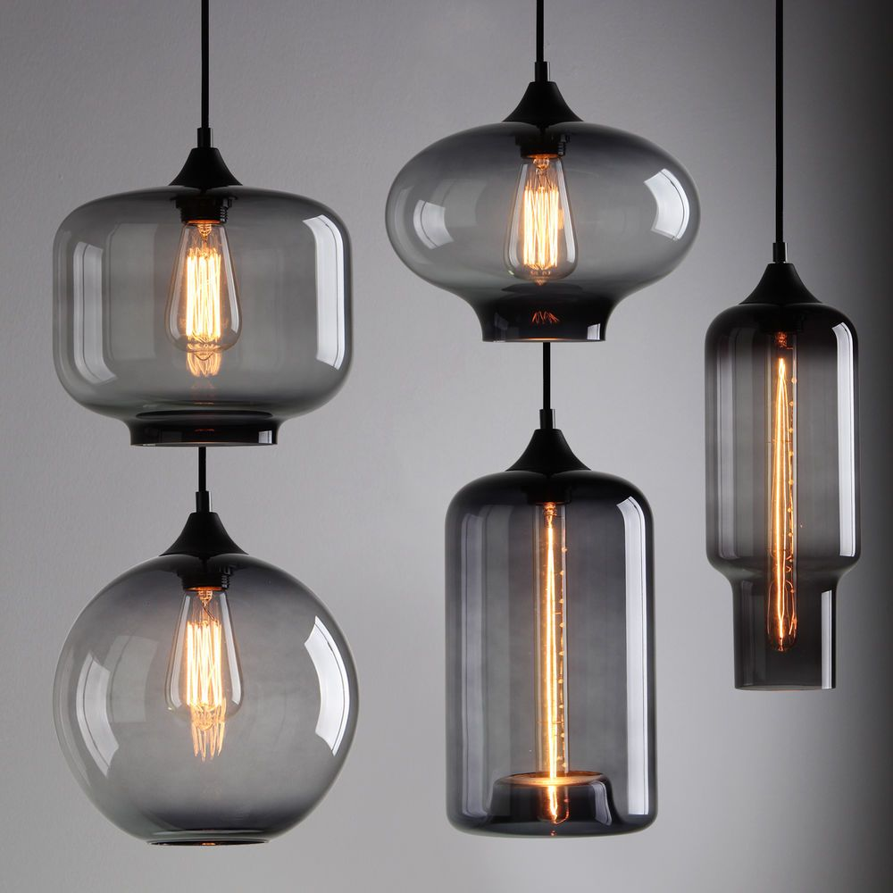 Modern industrial smoky grey glass shade loft cafe pendant