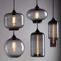 Modern industrial smoky grey glass shade loft cafe pendant ...