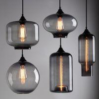 Modern industrial smoky grey glass shade loft cafe pendant ...