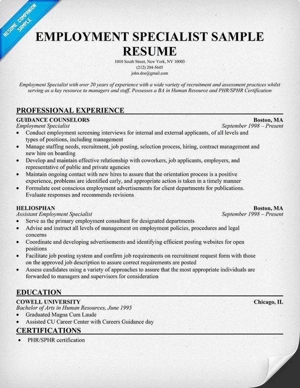 Employment Specialist Resume resumecompanioncom  Resume Samples Across All Industries