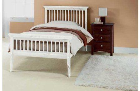 Single Shaker Wooden Bedframe Tanya Mattress White