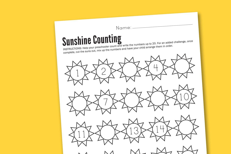 Sunshine Counting Preschool Worksheet Printable