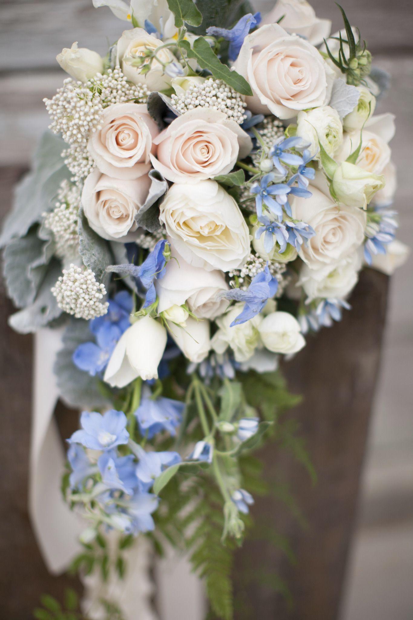 Ivory white and baby blue cascade wedding bouquet Garden