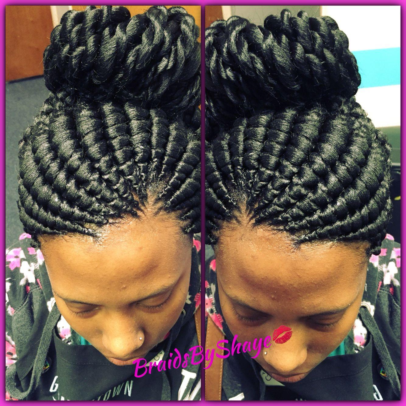 Ghana bun with twisted ends
