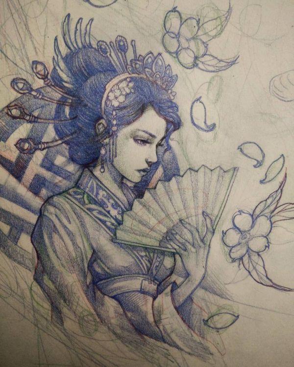 Geisha Tattoo Designs Drawings