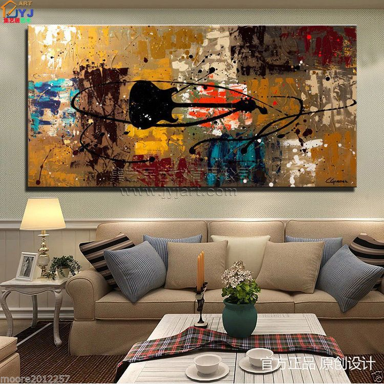 Modern abstract art oil painting musical instruments wall decor canvas no framed also rh pinterest