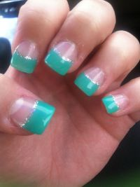 Acrylic nails, teal-ish, grey sparkle lining, French tips ...