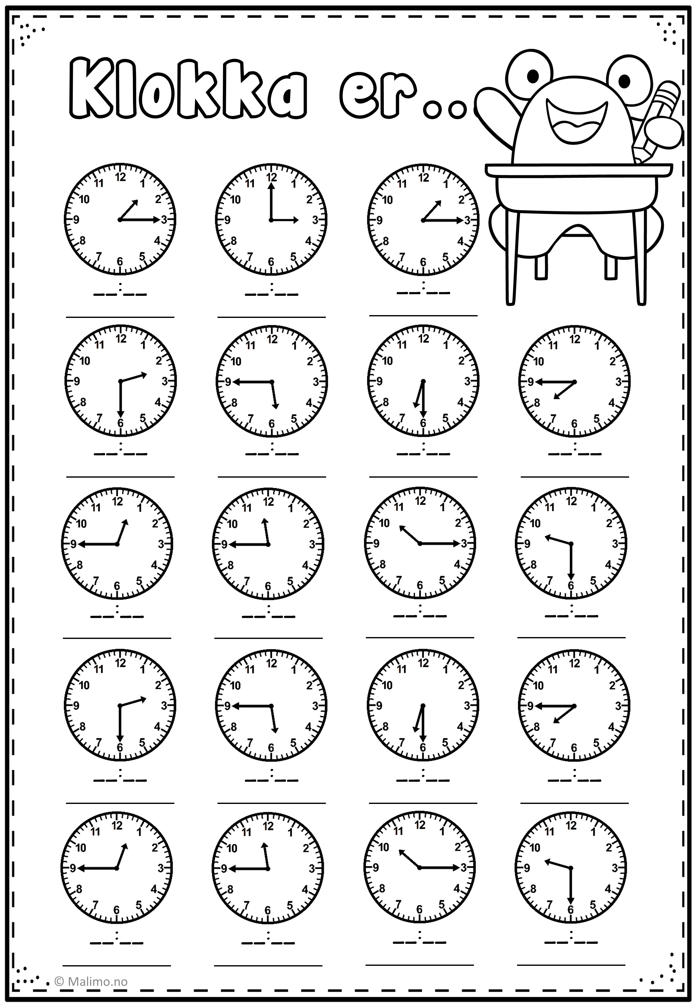 Og Clocks For Worksheets Kindergarten Og Best Free