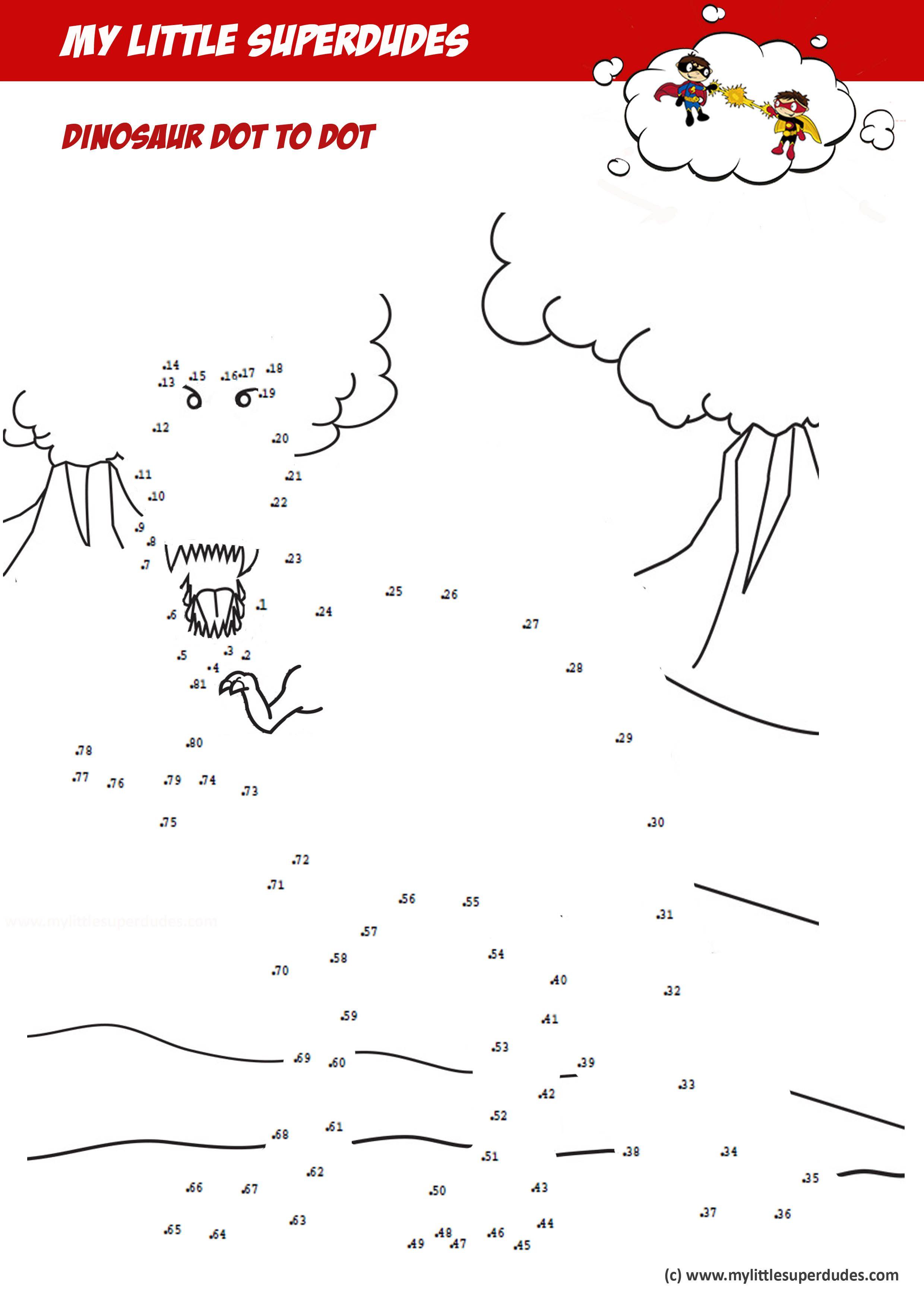 Preschool Dinosaur Dot To Dot Worksheet