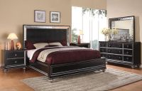 Wynwood Glam Black Mirrored King Size Mansion Bed Bedroom ...