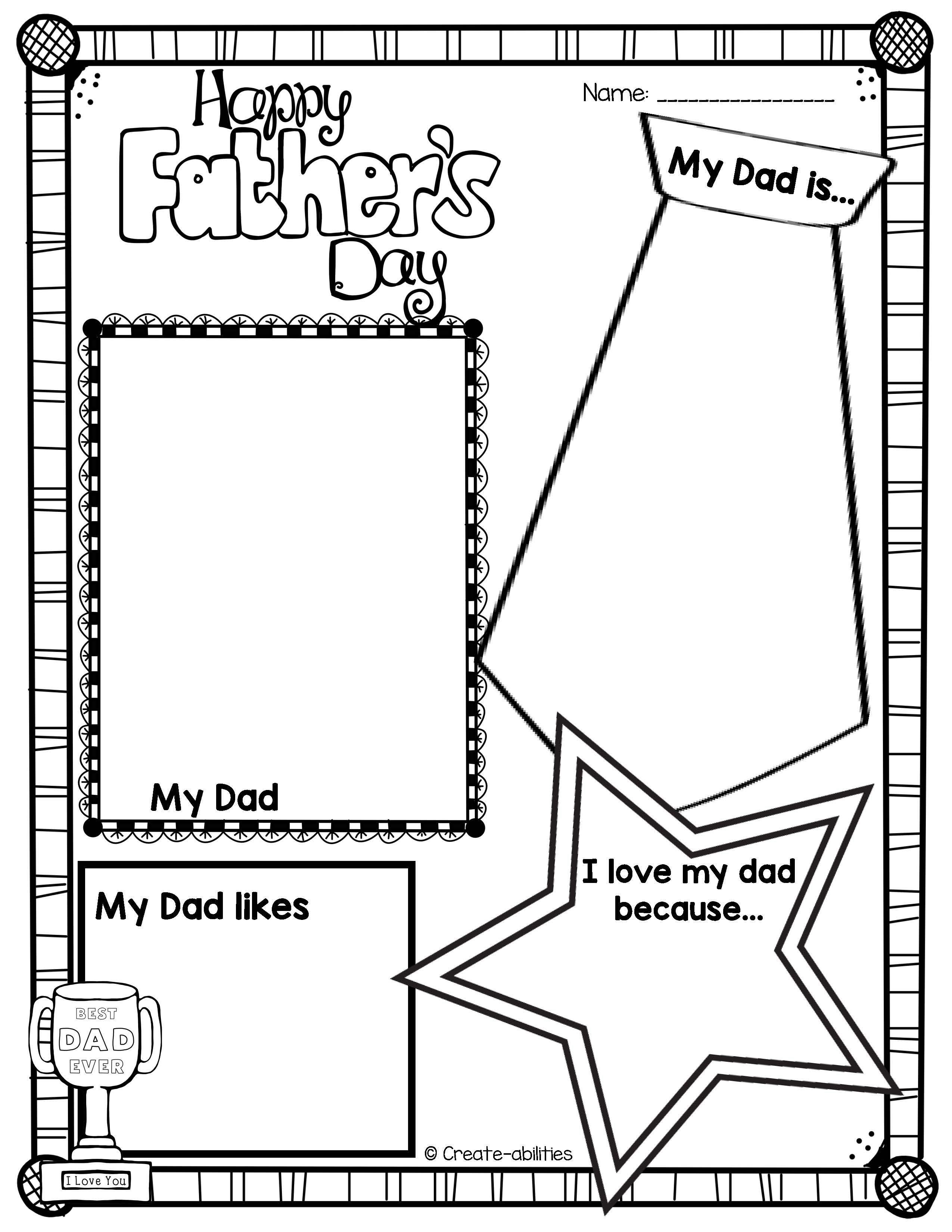 Father S Day Writing Activities And Art Project